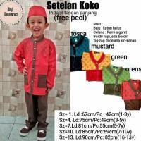 baju muslim Anak cowok kemeja koko+celana+peci pidacil umur 1-3 tahun