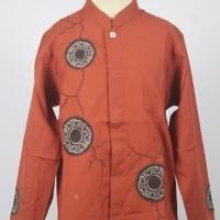 Baju Koko Anak Kombinasi Bordir Charming Orange Lengan Panjang Murah