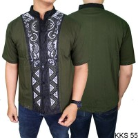 Baju Lebaran Baju Koko Modern Lengan Pendek Katun Hijau – KKS 55