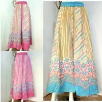 baju wanita celana panjang cutbray kulot pantai blue pink all size