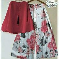 set kulot asifasifa merah/setelan baju balotelly + celana katun jepang