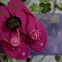 Jual CROWN sandal jepit wedges payet unik original handmade high quality 36 Murah