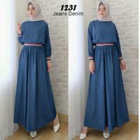 terbaru terkini gamis Baju dress Muslim Gamis Denim Wanita Murah 11451