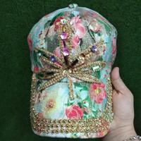 Topi wanita shabby Leaf toska import bunga