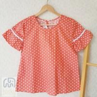 Baju Atasan wanita Lokal Big Size Polkadot Size L Warna Orange Cantik