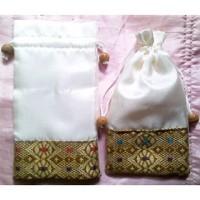 Souvenir Pernikahan Murah Dompet Satin Serut Songket Kemasan Plastik