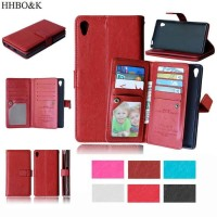 Flip Case PU Leather 9 Slot Card Cover Case Casing HP Sony Xperia Z4