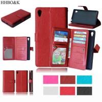Flip Case PU Leather 9 Slot Card Cover Case Casing HP Sony Xperia Z4