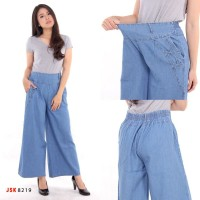 Celana Jeans Kulot Panjang Polos Biru Muda JSK 8219