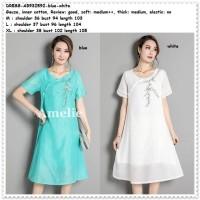 Mini Dress Gaun Pesta Cheongsam Korea Import AB932592 Putih Blue Tosca