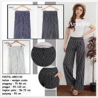 Celana Panjang Kulot Kerja Wanita Korea Import AB51143 Hitam Putih
