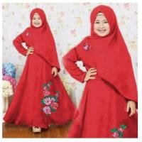 Baju Muslim Anak Perempuan [Syari Anak Naura Merah SW] Jersey Merah
