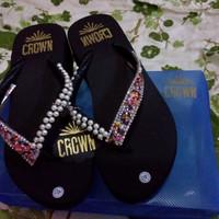Jual CROWN sandal jepit wedges payet unik original handmade high quality 40 Murah