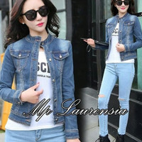 jeans denim levis jaket baju wanita outer jacket tebal hangat motor