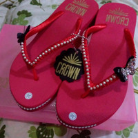 Jual CROWN sandal jepit wedges payet unik original handmade high quality 38 Murah
