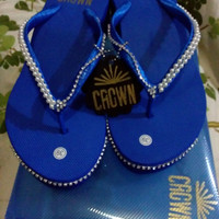 Jual CROWN sandal jepit wedges payet unik original handmade high quality 39 Murah
