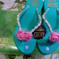 Jual CROWN sandal jepit wedges payet unik original handmade high quality 37 Murah