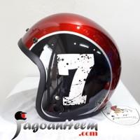 MVSTAR HELM RETRO Number 7 | Black Red Marron | Tanpa VISOR BOGO