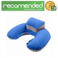 Bantal Leher U-Shape Inflatable Air Blow Up - Biru