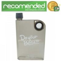 Memobottle Botol Minum Flat 380ml - Clear - Hitam - 380ml