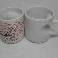 Cetak Mug Souvenir Sablon Mug Gagang Hati Untuk Souvenir Pernikahan