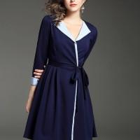 oi669- baju terusan wanita dress import biru kerah v neck