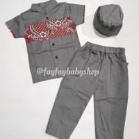 Jual Baju Koko Anak Koko Bayi Peci Motif Batik (Baju Muslim Anak) Murah