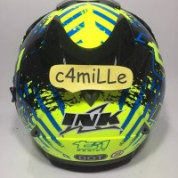NEW HELM INK T1 T 1 5 YELLOW FLUO BLACK CYAN BLUE DOUBLE VISOR HALF F