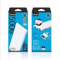 Power Bank Original Vivan C5 5000mAh 2 USB Ports 2.4A White