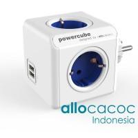 PowerCube Original USB BLUE Allocacoc Stop Kontak Steker Listrik