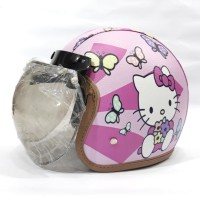 Helm Anak Remaja Bogo Kulit Printing Hello Kitty