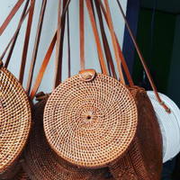 Jual tas ketak (rotan) lombok motif polos Murah