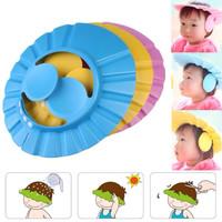 topi keramas anak ada kancing dan penutup telinga / shower cap kids