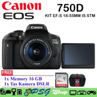 CANON EOS 750D KIT EF-S18-55MM IS STM Kamera DSLR Free TAS- Memory 16