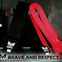 Sabuk Taekwondo Moks Premium Merah, Junior (Poom) dan Senior (Hitam)