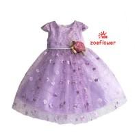 Dress Party Warna Ungu Motif Bunga Gaun Pesta Bayi Perempuan Tali Pita