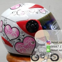 Helm Caberg Dewasa Hati / Love / Pink / Cute
