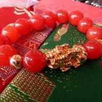 Gelang Phixiu batu manau giok merah uk 12 mm