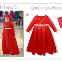Jual Beli baju muslim anak import MERAH 1 2 3 4 tahun AGD3244