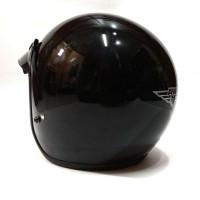 Helm Retro-Helm Classic-Helm Bogo-Helm Vespa Ava Hitam Glossy