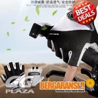 Harga promo sarung tangan sepeda half finger size l black white | antitipu.com