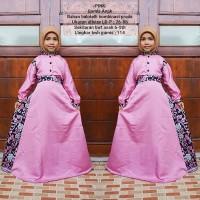 gamis batik anak bahan balotelli kombinasi katun prada warna pink