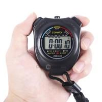 Stopwatch Olahraga Waterproof genggam Digtal LCD + Strap
