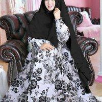 baju gamis pesta plavina motif bunga / maxi dres katun jepang termurah