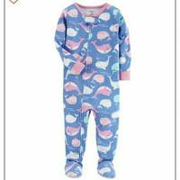 baju tidur piyama sleepsuit anak branded carters bahan kaos motif paus