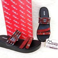 Sandal Wedges Wanita - Calbi YDX 1714 Merah - Wedges Murah Berkualitas