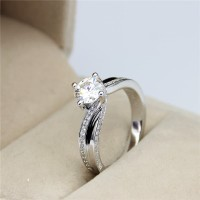 Cincin Solitaire Emas Putih 18k Asli Berlian Natural Diamond Kawin ZY1