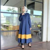 Gamis Resleting depan Baju wanita busui Hijab Abila Dress navy