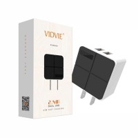 Vidvie 2 USB Port Charger - PLM304 S-Putih - Grosir