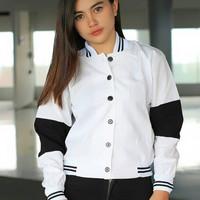 Jaket baju wanita outer luaran jacket bomber putih hitam polos simpel